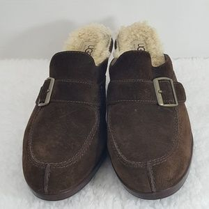 Ugg Mules Size 9 Sheepskin And Leather Brown Ugg